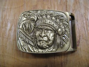 INDIAN CHIEF AND EAGLE SOLID BRASS BELT BUCKLE