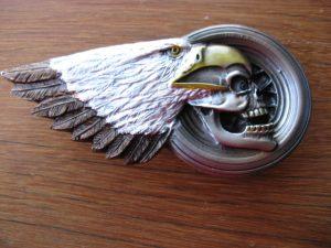 EAGLE SKULL & TIRE BELT BUCKLE