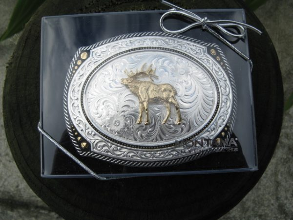 LARGE CAMEO ROPED BELT BUCKLE WITH STAG